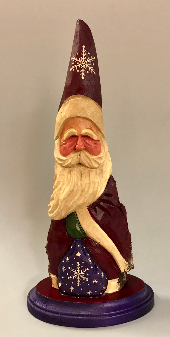"HAND carved original 11"" tall Santa with bag from 100 year old Cottonwood Bark."