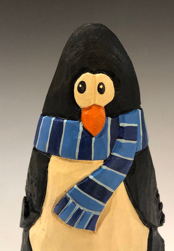 "HAND carved original 6.5"" tall Penguin w/scarf  from 100 year old Cottonwood Bark."