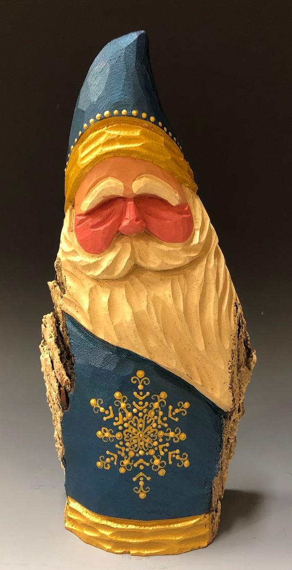 "HAND carved original 8"" tall Santa w/ ornate painted snowflake from 100 year old Cottonwood Bark."