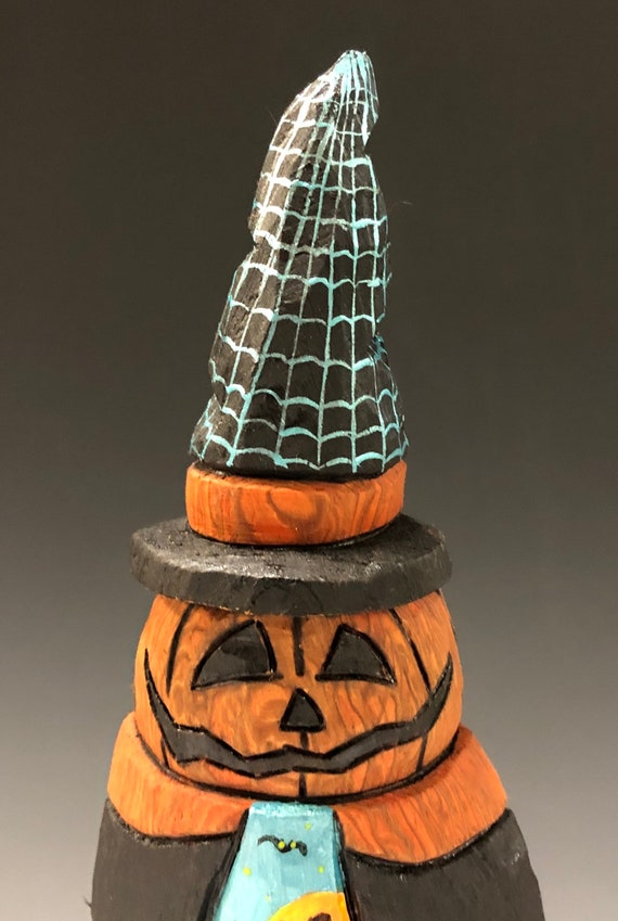 "HAND CARVED original 9"" tall Halloween Jack-O-Lantern man w/ scene from 100 year old Cottonwood Bark"
