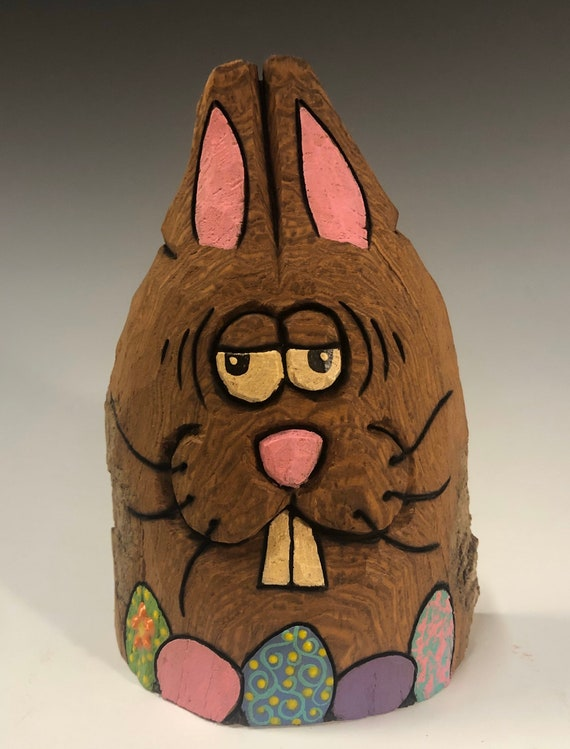 """HAND CARVED original 5"""" tall Easter Bunny with eggs from 100 year old Cottonwood Bark."""