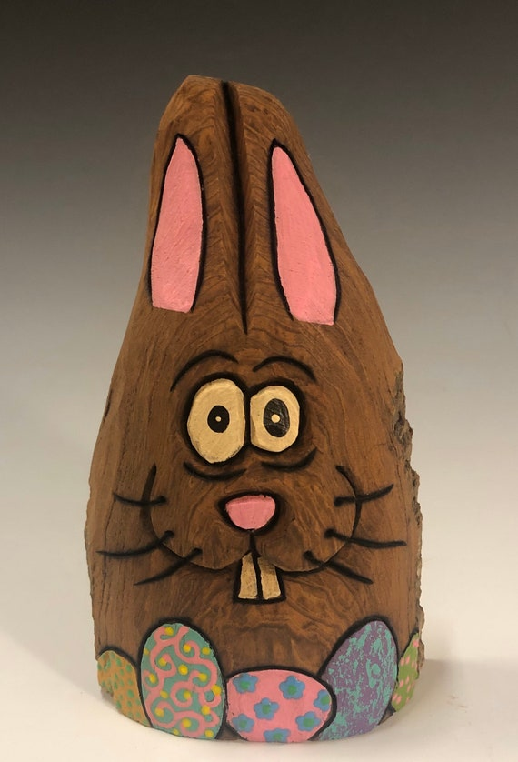 """HAND CARVED original 5.5"""" tall Easter Bunny with eggs from 100 year old Cottonwood Bark."""