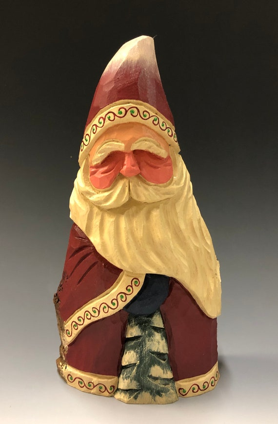 "HAND carved original 8.5"" tall Santa w/ tree from 100 year old Cottonwood Bark."
