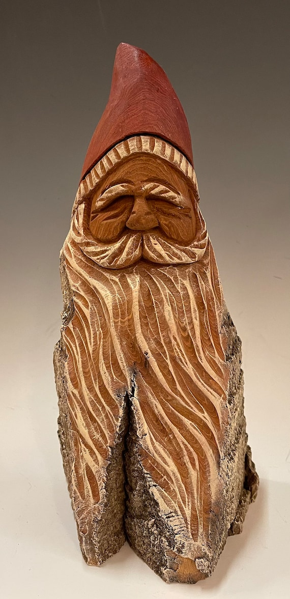 """HAND carved original 10"""" tall Santa with natural/oil color finish from 100 year old Cottonwood Bark."""