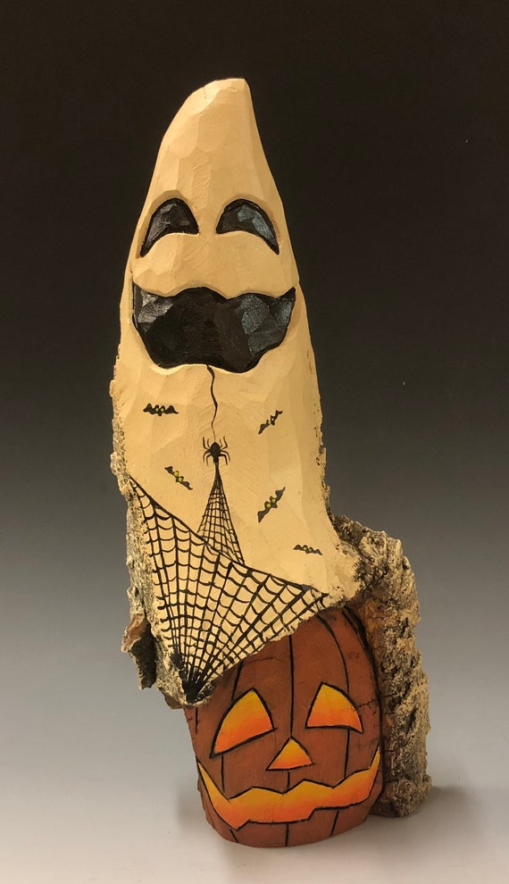 "HAND CARVED original 10.5"" tall Halloween ghost with jol from 100 year old Cottonwood Bark"