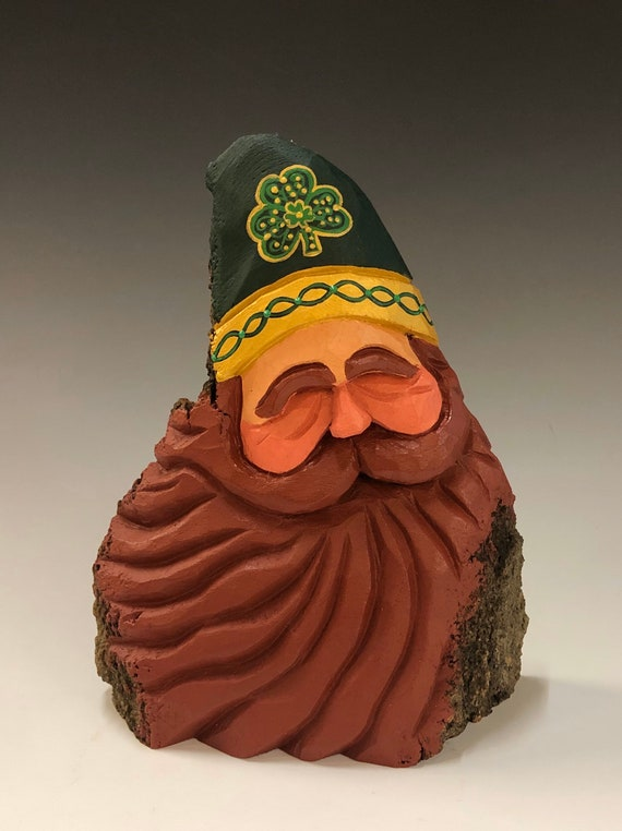 "HAND carved original 7"" tall Irish Santa bust from 100 year old Cottonwood Bark."