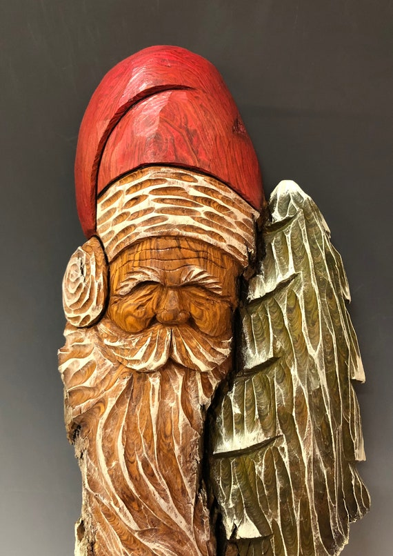 "HAND CARVED original 19"" Christmas Spirit w/tree  wall hanging from 100 year old Cottonwood Bark"