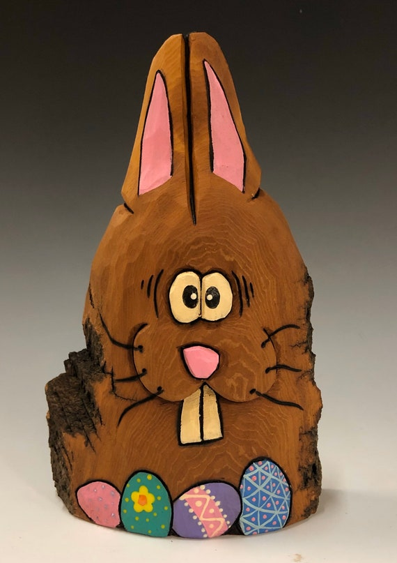 """HAND CARVED original 6.5"""" tall Easter Bunny with eggs from 100 year old Cottonwood Bark."""