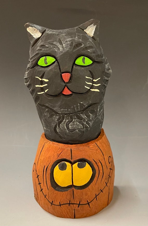 """HAND CARVED original 7"""" tall big kitty in a little pumpkin from 100 year old Cottonwood Bark"""