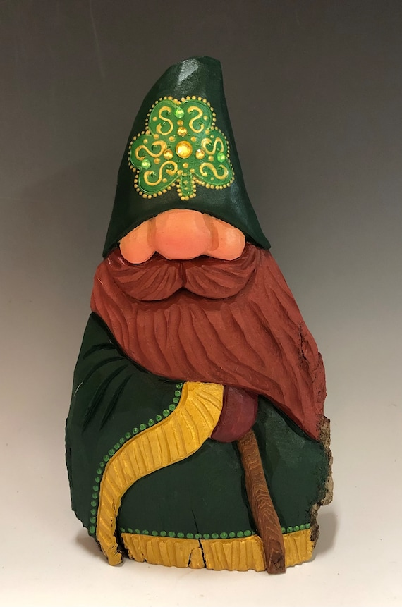 "HAND carved original 8.5"" tall Irish Santa w/ a cane from 100 year old Cottonwood Bark."