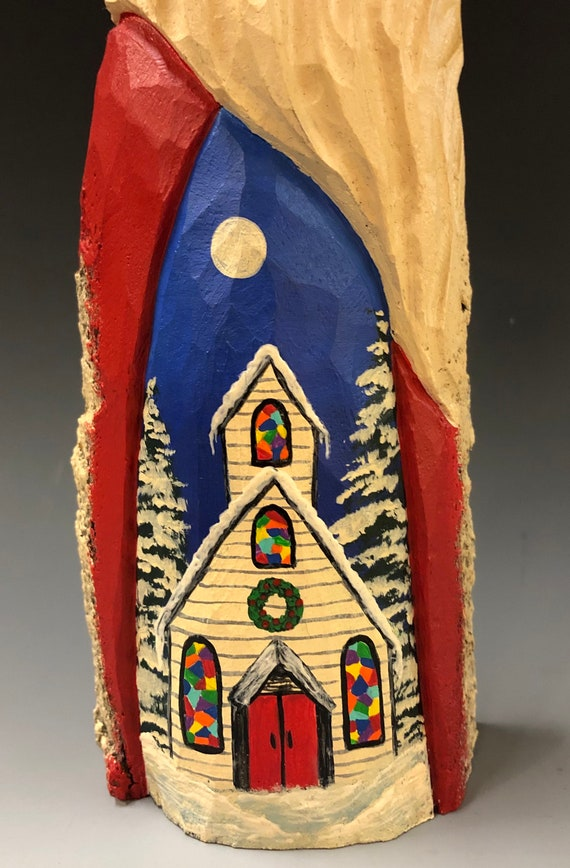 "HAND carved original 12"" tall Church Santa from 100 year old Cottonwood Bark."