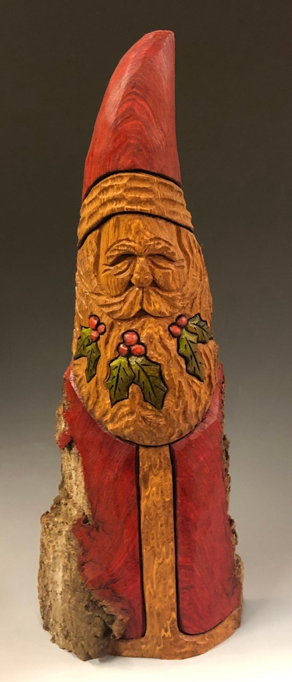 "HAND carved original 14"" TALL holly beard Santa with oil stains from 100 year old Cottonwood Bark."