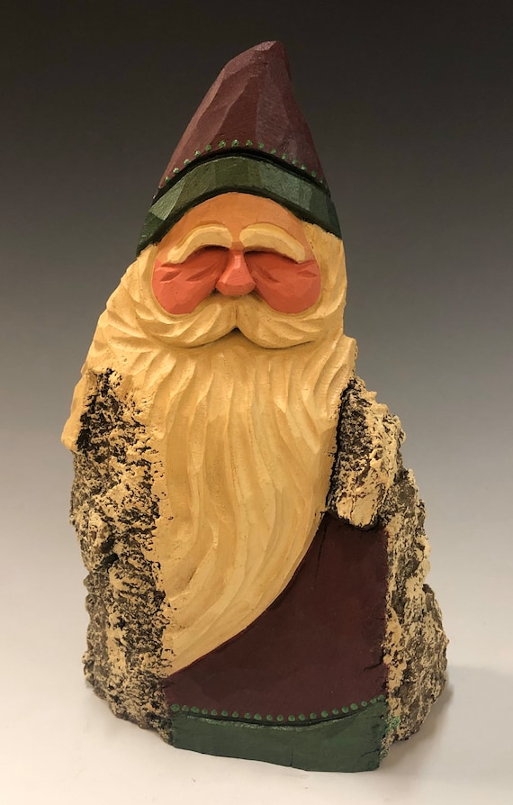 "HAND carved original 9"" tall rustic Santa from 100 year old Cottonwood Bark."