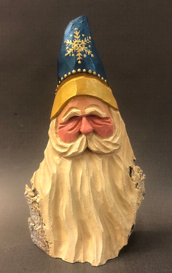 """HAND carved original 8"""" snowflake Santa bust from 100 year old Cottonwood Bark."""