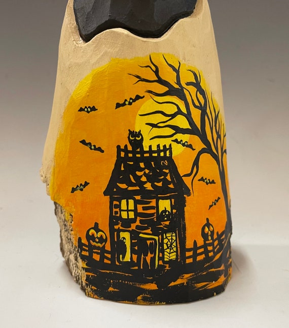 """HAND CARVED original 8.5"""" Halloween ghost with painted scene from 100 year old Cottonwood Bark"""