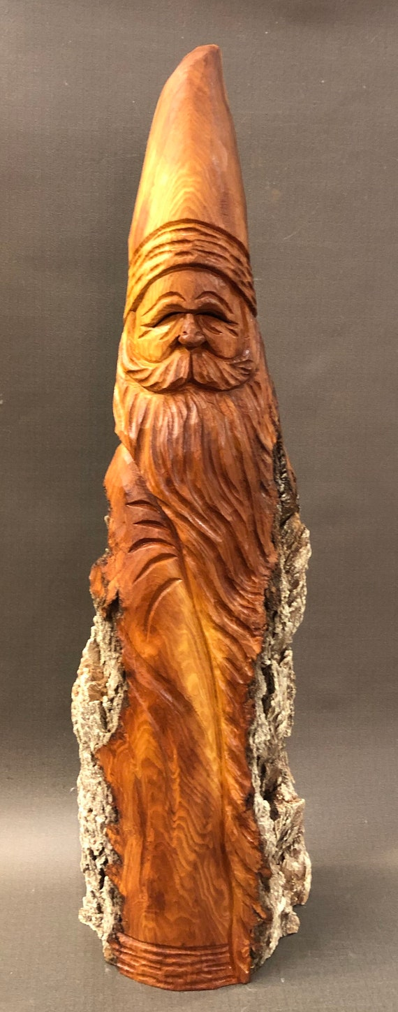 "HAND carved original rustic 19"" tall Santa with natural finish from 100 year old Cottonwood Bark."