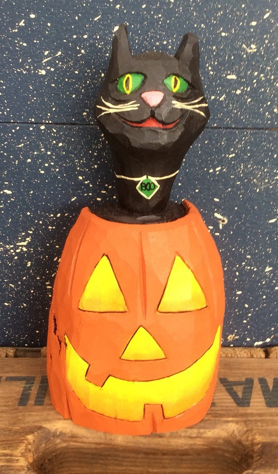 HAND CARVED original Halloween Cat in a JOL from 100 year old Cottonwood Bark