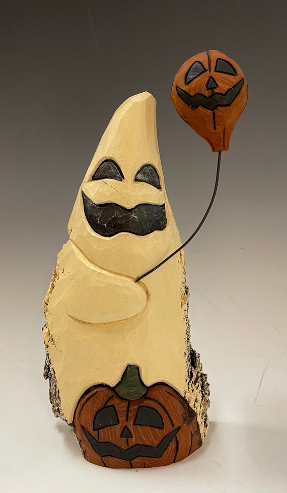 """HAND CARVED original 10.5"""" Halloween ghost with jol's from 100 year old Cottonwood Bark"""
