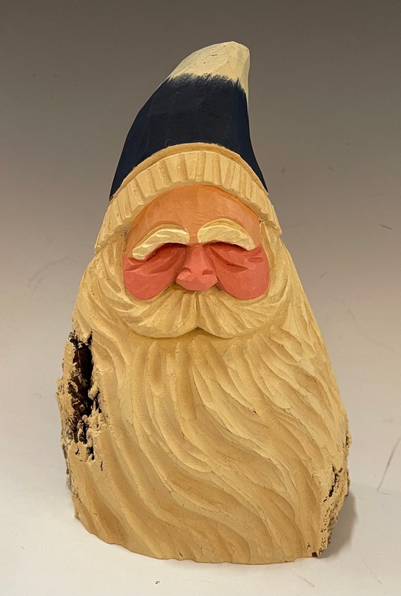 """HAND carved 7"""" tall blue hat Santa bust from 100 year old Cottonwood Bark."""