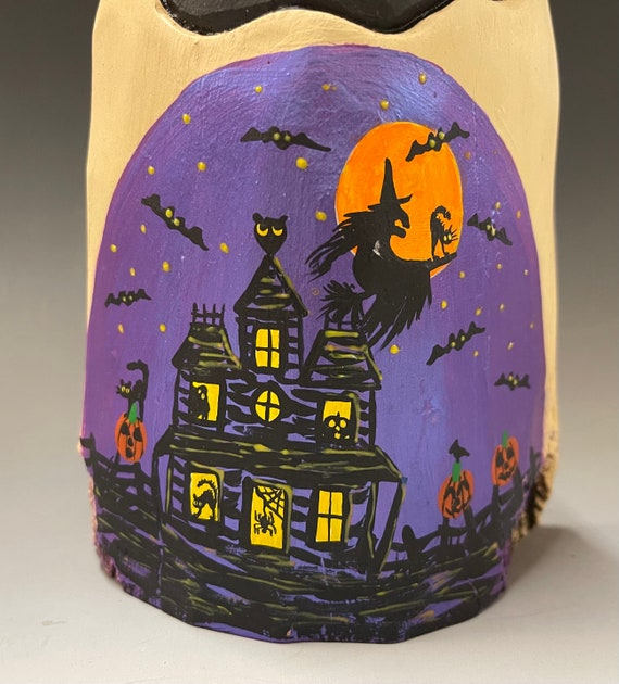 """HAND CARVED original 7.5"""" Halloween ghost with painted scene from 100 year old Cottonwood Bark"""