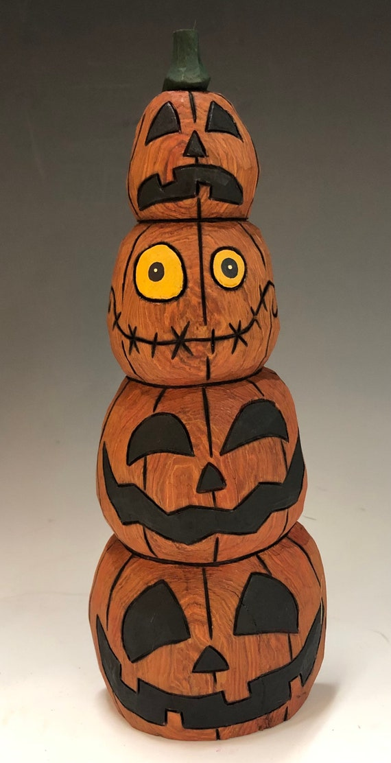 "HAND CARVED original 10"" tall Stack of Jack-O-Lanterns from 100 year old Cottonwood Bark"