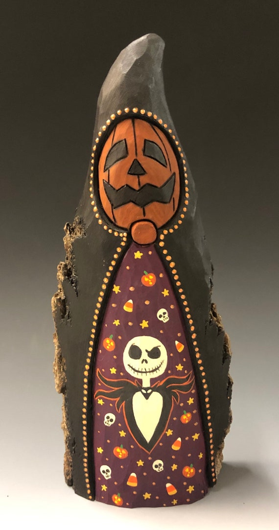 "HAND CARVED original 10"" tall Halloween Jack-O-Lantern man w/ scene from 100 year old Cottonwood Bark"