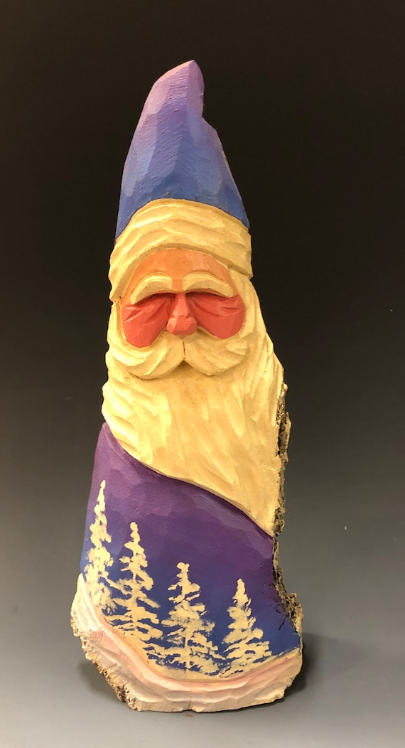"HAND carved original 10"" tall Santa w/ white trees from 100 year old Cottonwood Bark."