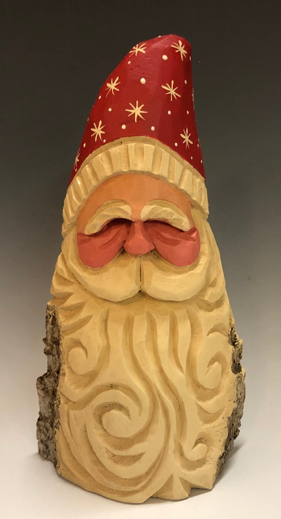 "HAND carved 7"" tall Santa bust with curly beard from 100 year old Cottonwood Bark."