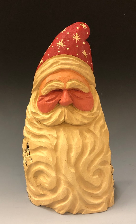 "HAND carved original 6"" tall curly beard Santa bust from 100 year old Cottonwood Bark."