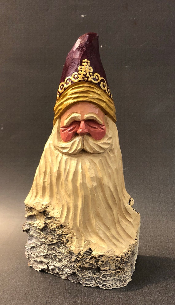 """HAND carved original 8.5"""" tall Santa bust from 100 year old Cottonwood Bark."""