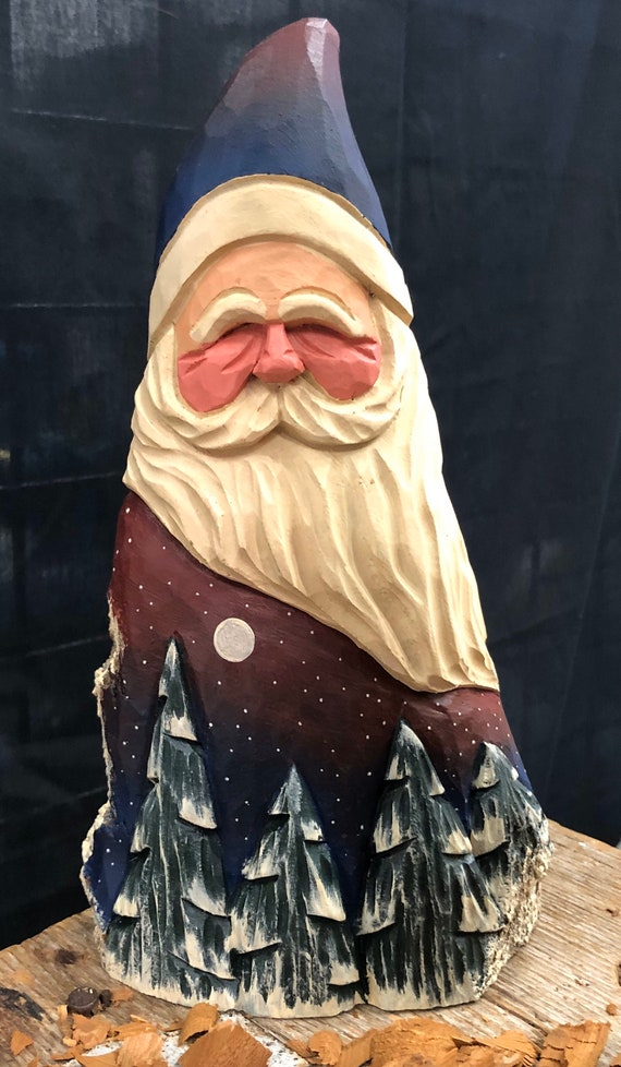 """HAND carved original 9.5"""" tall Santa with trees from 100 year old Cottonwood Bark."""
