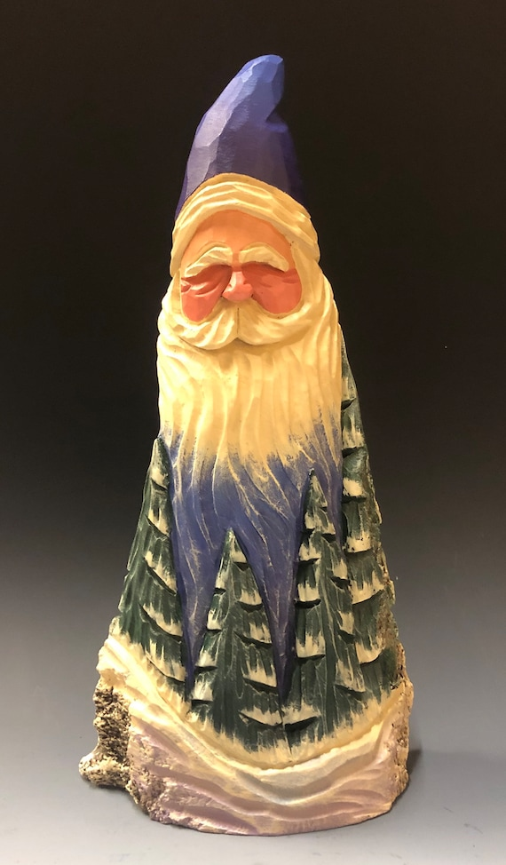 "HAND carved original 11"" tall Santa w/ carved trees from 100 year old Cottonwood Bark."