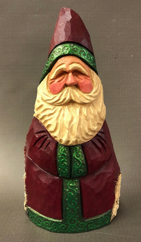 HAND CARVED original fancy green trim Santa from 100 year old Cottonwood Bark.