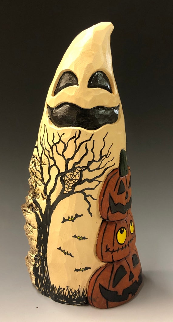 "HAND CARVED original 9"" tall Halloween ghost w/ stack of jol's from 100 year old Cottonwood Bark"