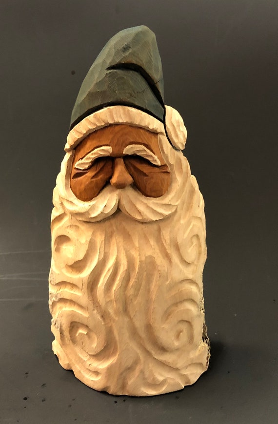 """HAND carved original 7"""" tall Santa bust with oil stain finish from 100 year old Cottonwood Bark."""