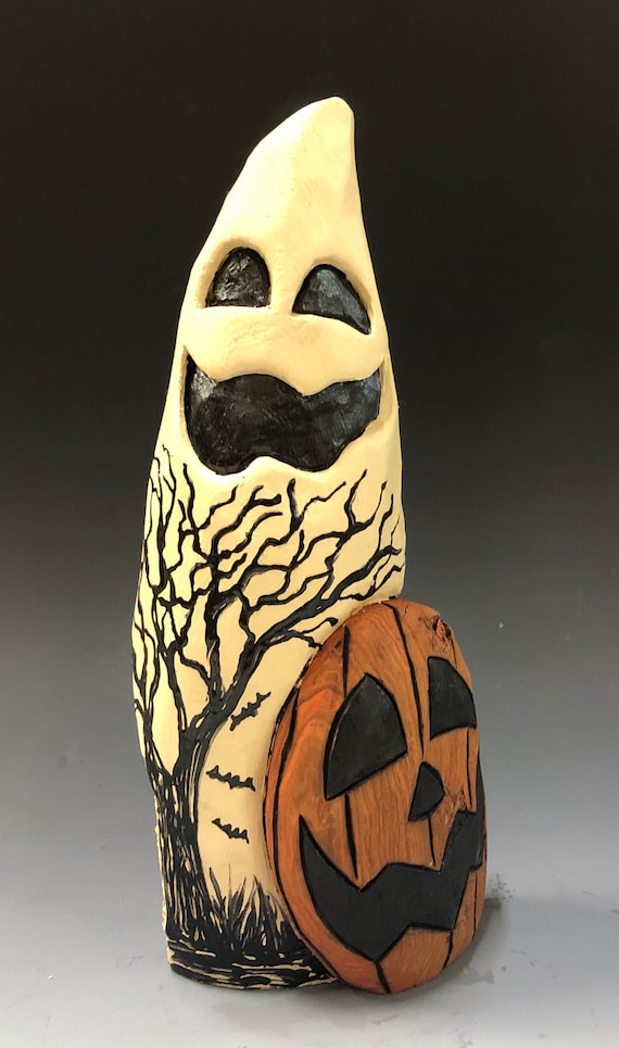 """HAND CARVED original 8.5"""" tall Halloween ghost w/ JOL & spooky tree from 100 year old Cottonwood Bark"""