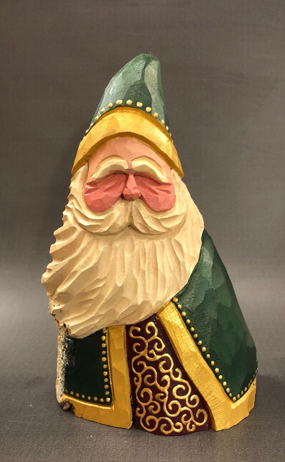 HAND carved original green fancy robed Santa from 100 year old Cottonwood Bark.