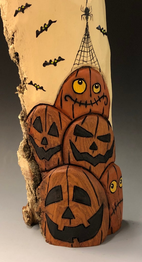 "HAND CARVED original 10.5"" tall Halloween ghost w/ JOL stack from 100 year old Cottonwood Bark"