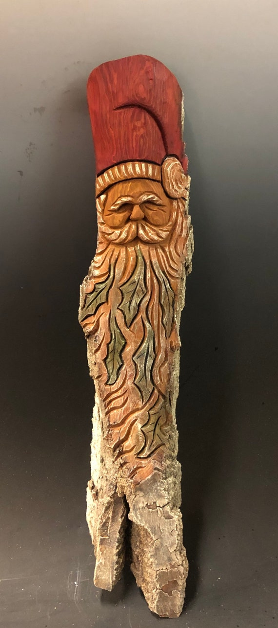 """HAND carved original 18"""" tall rustic Santa wall hanging from 100 year old Cottonwood Bark."""