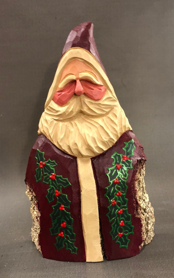 "HAND carved original Santa with holly, 9"" tall from 100 year old Cottonwood Bark."