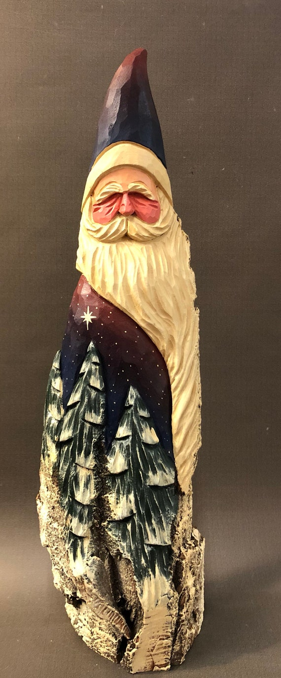 """HAND carved original over 18"""" tall Santa with trees from 100 year old Cottonwood Bark."""