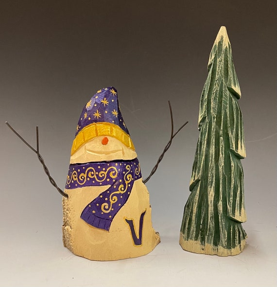 """HAND carved original """"Viking"""" Snowman & tree set from 100 year old Cottonwood Bark."""