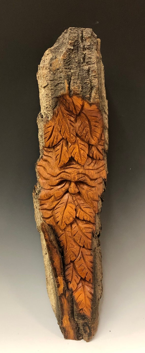 "HAND CARVED original 18"" Tree Spirit with leaves from 100 year old Cottonwood Bark"