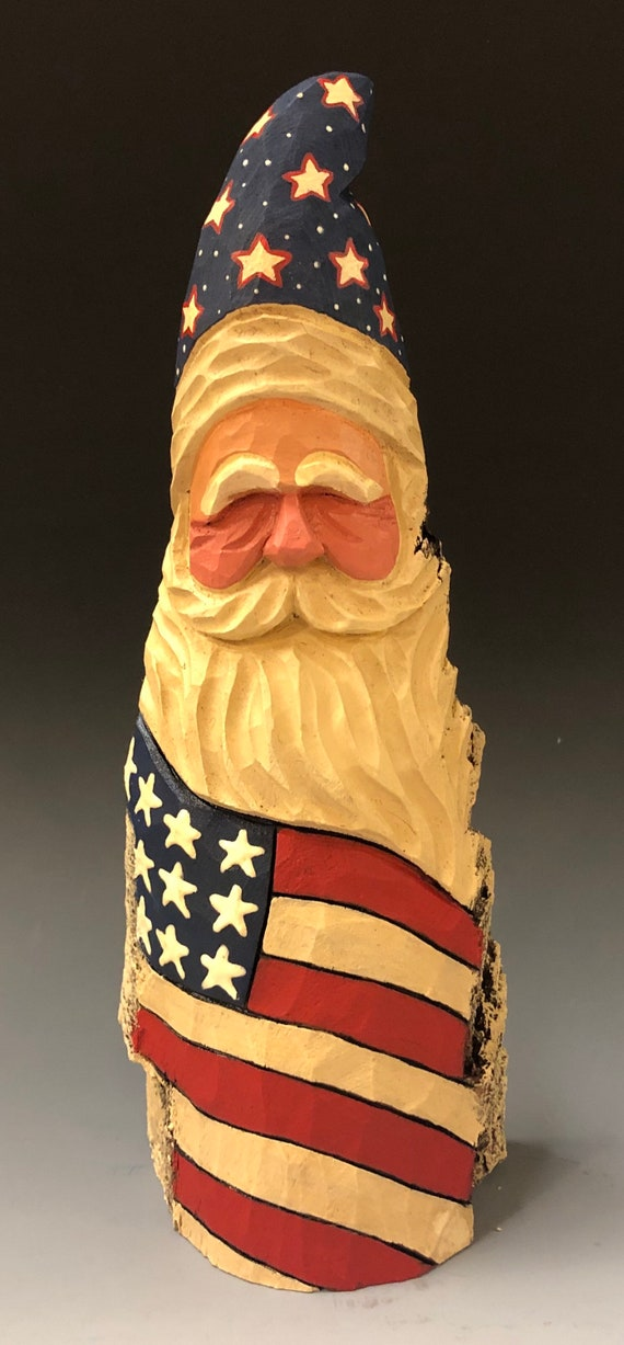 "HAND carved original nice size  9"" tall rustic Patriotic Santa from 100 year old Cottonwood Bark."