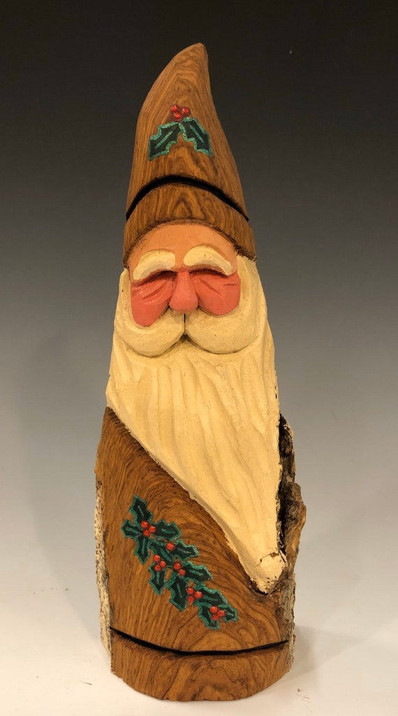 HAND carved original Santa w/ natural finish and holly from 100 year old Cottonwood Bark.