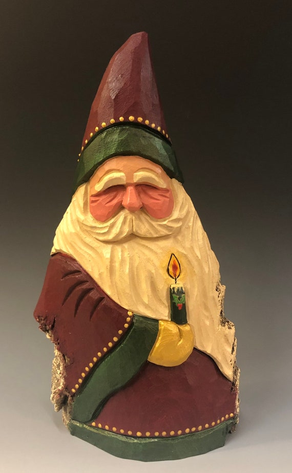 "HAND carved original 10"" tall Santa w/ candle from 100 year old Cottonwood Bark."