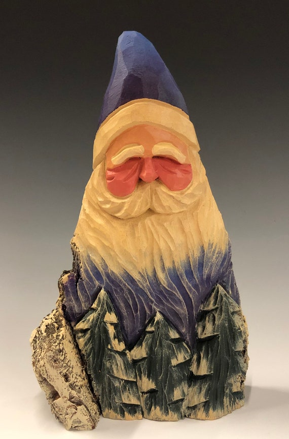 "HAND carved original 8"" tall Santa bust with trees from 100 year old Cottonwood Bark."