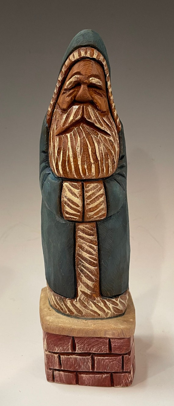 """HAND carved original 9"""" tall Santa on chimney with oil stains from 100 year old Cottonwood Bark."""