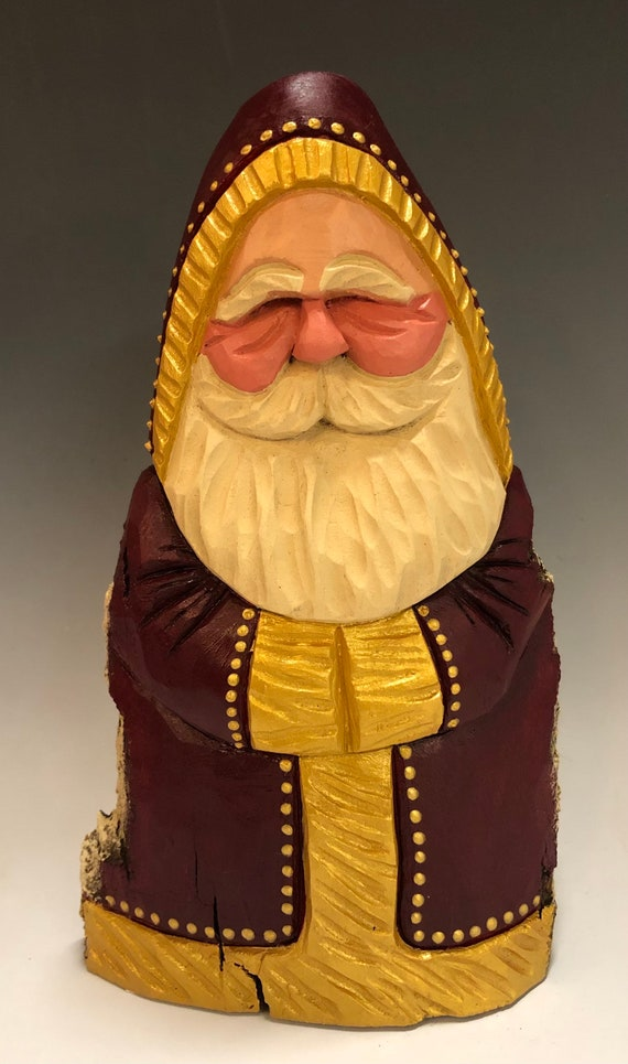 "HAND carved original 8"" tall burgundy & gold Santa from 100 year old Cottonwood Bark."