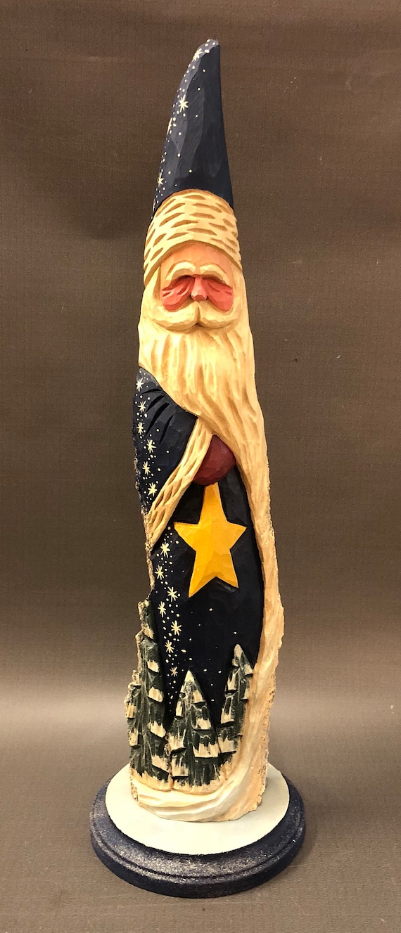 HAND carved original tall Santa with trees on base from 100 year old Cottonwood Bark.
